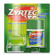 Zyrtec Allergy 24 Hour Tablets, 10 mg, 45 Count (Each of 1)