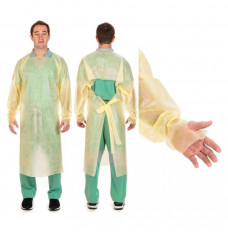 Cardinal Poly-Coated Protective Gown, Open-Back, Over-the-Head, Thumbhooks, Yellow, Universal (Case of 100)