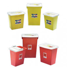 SharpSafety Chemotherapy Sharps Container, PGII, Hinged Lid, Yellow 8 Gallon (Case of 10)