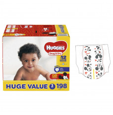 HUGGIES Snug and Dry Diapers, Size 3, HUGE Pack, 198 Count (Case of 198)