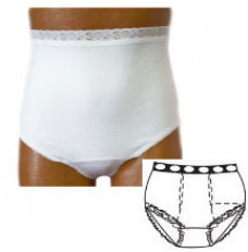 "OPTIONS Ladies' Basic with Built-In Barrier/Support, White, Dual Stoma, Small 4-5, Hips 33"" - 37"" (Each of 1)"