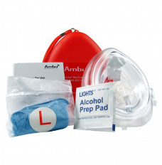 AMBU CPR Mask (EMT Grade) With Gloves And Wipes (Each of 1)