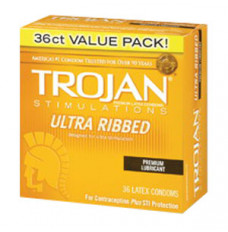 Trojan Condom Stimulations Ultra Ribbed Lubricated (Box of 36)