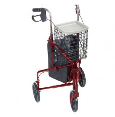 3 Wheel Aluminum Rollator, Red (Each of 1)