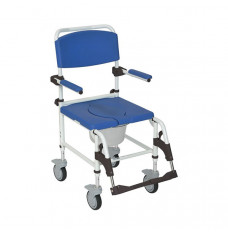 Aluminum Rehab Shower Commode Chair with Casters (Each of 1)
