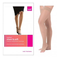 Sheer & Soft Thigh High with Silicone Top Band, 15-20, Open, Natural, Size 2 (Each of 1)