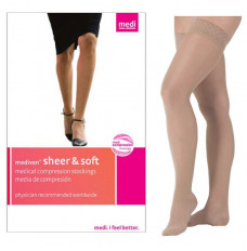 Sheer & Soft Thigh High with Silicone Top Band, 15-20, Closed, Natural, Size 2 (Each of 1)