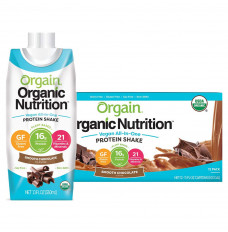Orgain Organic Nutrition Vegan All-In-One Protein Shake, Smooth Chocolate, 11 fl oz (Case of 12)