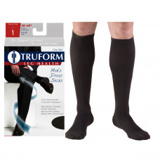 Truform Men's Dress Knee High Support Sock, 30-40 mmHg, Closed Toe, Black, Medium (Each of 1)