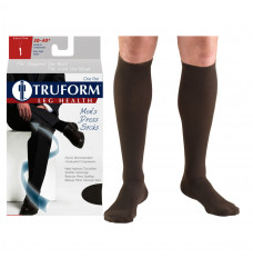 Truform Men's Dress Knee High Support Sock, 30-40 mmHg, Closed Toe, Brown, Large (Each of 1)