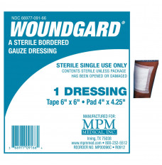 "WoundGard Bordered Gauze 6"" X 6"", Sterile (Pack(age) of 30)"
